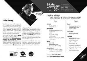 Concert with John Barry's music in Mallorca 2018 - Program