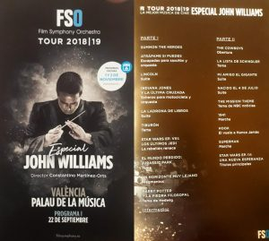 FSO 2018-2019 Tour - John Williams - Concierto inaugural en Valencia - Programa