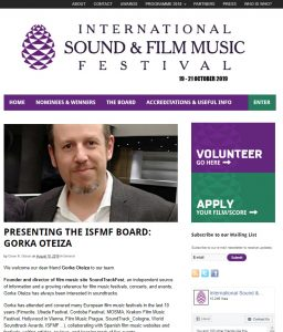 SoundTrackFest joins the ISFMF Board - Gorka Oteiza
