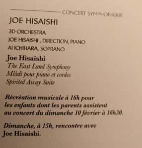 Joe Hisaishi - Paris 2019 - Programa