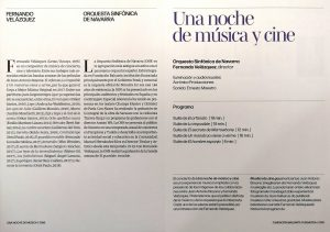 Concert 'A Night of Music and Cinema' - Printed program (inside)