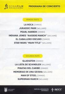 SONAFILM 2019 - 1ª Edición - Concierto - Programa