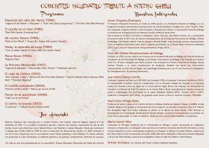 Concierto solidario 'Tributo a Studio Ghibli' a beneficio de la Fundación Vicente Ferrer - Programa