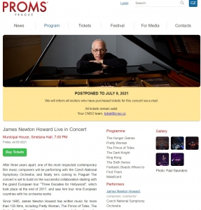 Prague Proms 2020 - James Newton Howard [NUEVA FECHA EN 2021]