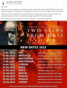 Two Steps From Hell - Thomas Bergersen & Nick Phoenix - Gira pospuesta a 2022 - Anuncio